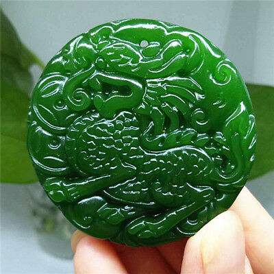 Green dragon 龙 Natural jade pendant Necklace jewelry