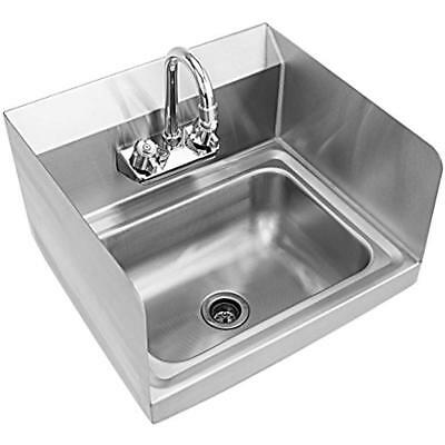 Stainless Steel Hand Washing Sink With Wall Mount Faucet & Side Splashes NSF Hot