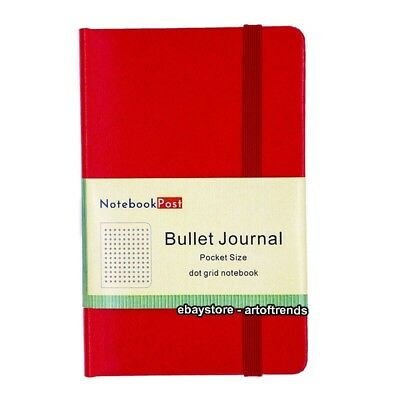 Bullet Journal Notebook Pocket Size A6 Hardcover, 160 Dotted Grid Pages,Red