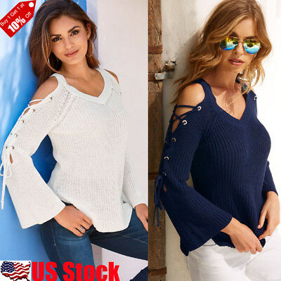 Womens Sexy Cold Shoulder V Neck Lace UP T Shirt OL Ladies Casual Tops Blouse US