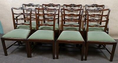 Set Of Eight Mahogany Ladder Back Chairs In The Chippendale Style
