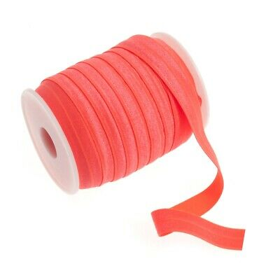 Fold Over Elastic - 16mm - Neon Coral - Per Metre
