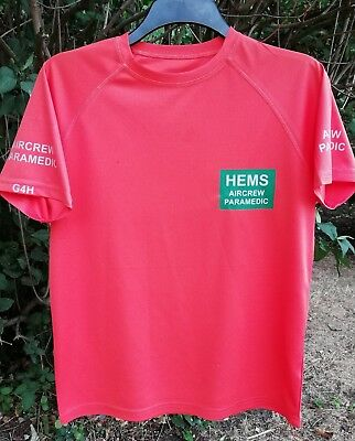 Bespoke HEMS Air Ambulance Aircrew Paramedic wicking t-shirt reflective text