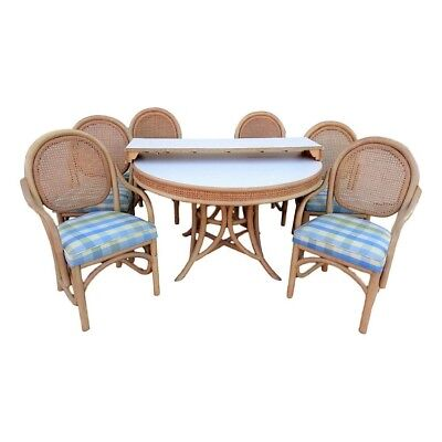 Vintage Brown Jordan Label Rattan and Cane Dining Set 6 Chairs & Table w/ Leaf