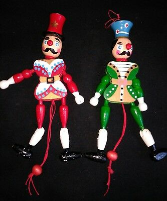 VTG Wood Pull String Toy Puppet Christmas Ornament Lot of 2 Marionettes