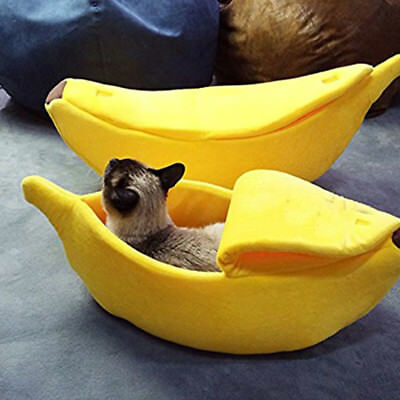 Cute Banana Boat Shape Pet Dog Cat Bed Sofa Plush Puppy Kitty Winter Warm House