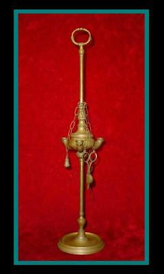 "CLASSIC Antique BRONZE /BRASS 22"" GREEK / ROMAN Standing 3 FONT OIL LAMP w/Tools"