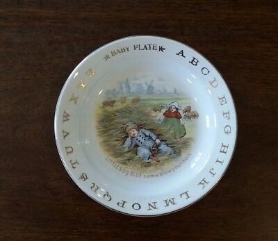 Vintage Little Boy Blue Alphabet Baby Child Plate Dish Nursery Rhyme