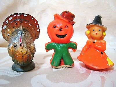 Lot of 3 Gurley Halloween Candles Witch, Pumpkin, Thanksgiving Turkey