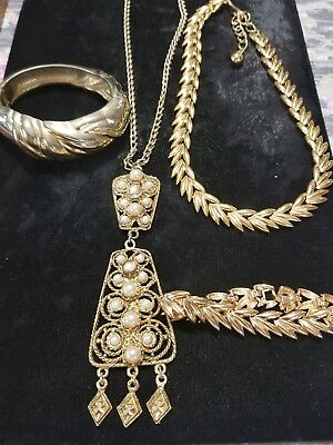 Lot of vintage antique jewelry GRANDMA'S estate Gold Tone (See Pictures) Lot 63
