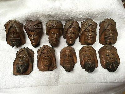 Antique Black Forest Carvings Turk Heads X 11