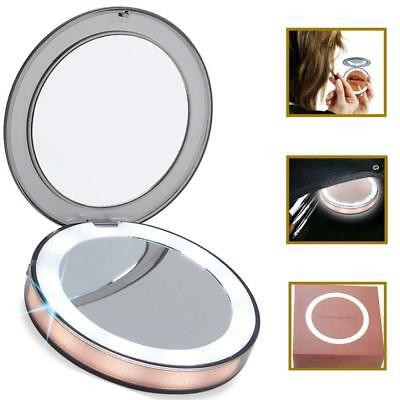 Lighted LED Makeup Mirror 1x 7x Magnifying Folding Portable Mini Cosmetic Mirror