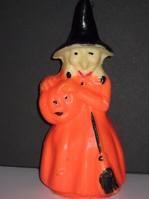 """Gurley Wax Candle, 8"""" Tall Witch Holding Jol And Broom"""