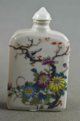 Collectable Handwork Porcelain Paint Colorful Flower & Bird Lucky Snuff Bottle