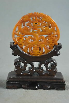 Collectable Handwork Decor Old Jade Carve Myth Dragon Auspicious Exorcism Statue