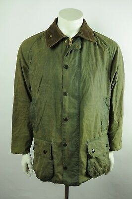 Vintage Barbour Beaufor waxed jacket c42 L OLIVE distressed