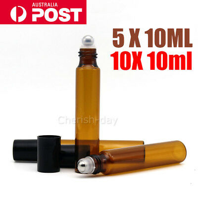 10 10ml Roller Bottles Amber THICK Glass Steel Roll on Ball for Essential Oils Z