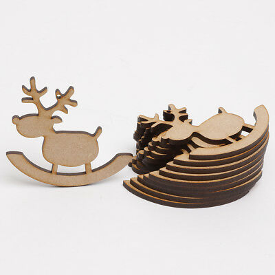 Xmas Wooden MDF Blanks Christmas Craft Gift Tags 9cm 10 x ROCKING REINDEERS
