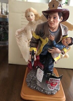 """Red Hats of Courage """" Heavenly Guidance"""" Firefighter # 2 Of 1225 Figurine"""