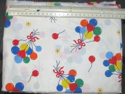 "RED BLUE GREEN & Yellow Ballons on White Cotton Fabric 45"" wide x 1 7/8 yards"