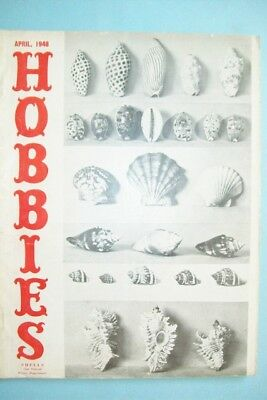 """April 1948 Hobbies Magazine  """"The Magazine For Collectors"""" - Sea Shells on Cover"""