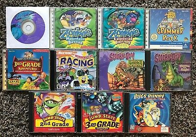 Lot of 11 Educational PC Games (ages 6-10) Jump Start, Zoombinis, Scooby Doo+