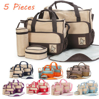 5Pcs Baby Changing Diaper Nappy Bag Set Multi-functional  Mommy Bag Handbag New
