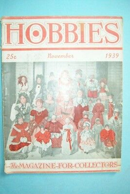 """Nov. 1939 Hobbies Magazine """"The Magazine For Collectors"""" - Doll Collecting Cover"""