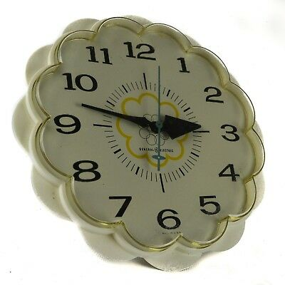 GE General Electric Kitchen Wall Plastic Clock Model Whtie Yellow Circles Round