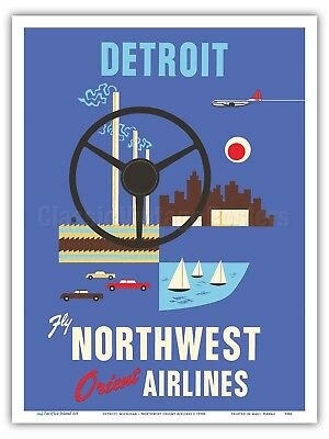 Detroit Motor City - Northwest Orient - 1950s Vintage Travel Poster Print