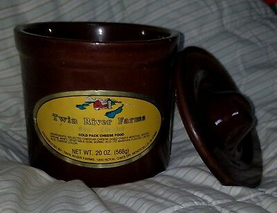 """Vintage Small Brown Cheese Butter Crock w Bail Lid - Stoneware""""Twin River Farms"""""""