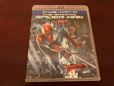 The Amazing Spider-Man 3D (Blu-ray/DVD, 2012, 4-Disc Set) - LIKE NEW