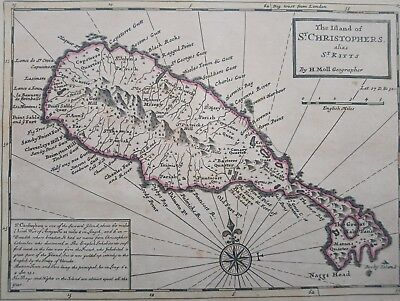 1732 Herman Moll Map The Island of St. Christophers alias Saint Kitts and Nevis