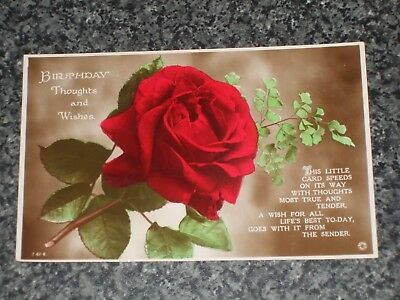 Birthday Thoughts And Wishes Red Rose 1917 Old Postcard