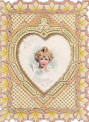 Vintage VALENTINE'S DAY CARD Victorian Die Cut Layered.