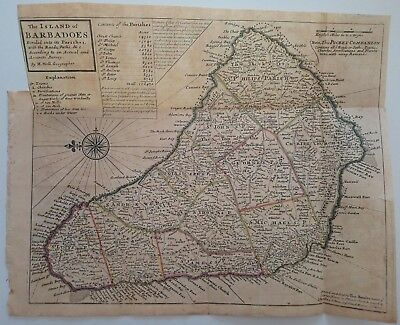 1732 Herman Moll Map The Island of Barbadoes Divided into its Parishes Barbados
