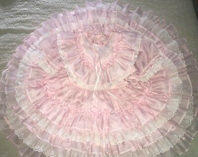 VTG Vintage Lilo California Twirl Toddler Party Dress Pretty Pink Ruffles Lace 4