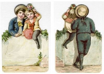 Little VICTORIAN BOYS Sitting on Wall Front and Back Greeting Card 1880's