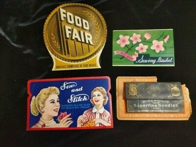 VINTAGE LOT OF 5 ANTIQUE ADVERTISING SEWING NEEDLES PACKS - Used