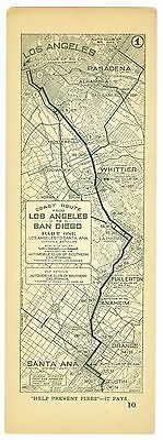 1920s Los Angeles to San Diego, Calif, AAA Automobile Club of Southern Calif Map