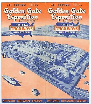 1939 National Trailways Bus Brochure, SF Golden Gate Inter Expo GGIE, 16x18