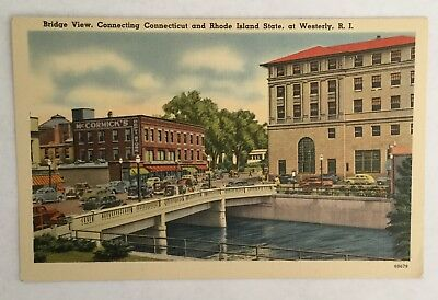 Old Vintage Postcard - Bridge View Connecting Connecticut and Rhode Island State