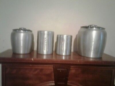 Lot of 4 aluminum canisters vintage