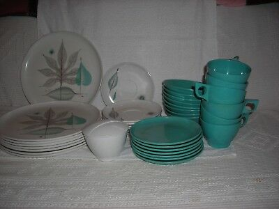 37 Pieces Of Debonaire Melmac Dinnereware, Atomic Leaf Pattern