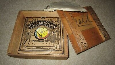 *** Old Wooden Box of Twenty-One 7 inch EMERSON Records! ***