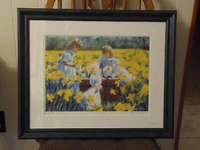 """Framed Candace Lovely Print,""""Is That Tea?"""", West Highland White Terriers & Girls"""