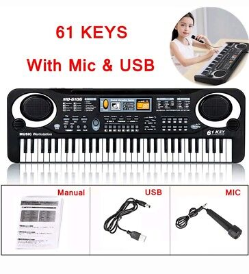 61 Key Digital Electronic Music Keyboard & Microphones Electric LEDs Piano Organ