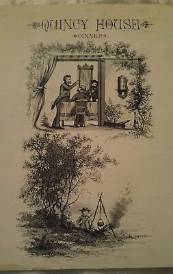 1882 QUINCY HOUSE Bill of Fare MENU Engraved Wealthy Men & a Poor Boy outdoors