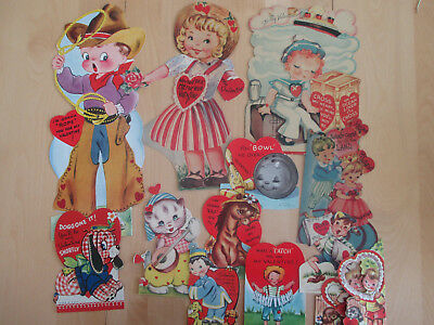 12 Vtg. Children Valentines 4 Mechanical Cowboy Kitten Sailor, 2 Large Bonus