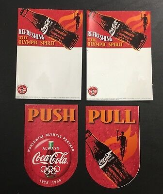 LOT (4) Coca-Cola Collectible 1996 OLYMPICS USA Decals NEW STICKERS PUSH OPEN